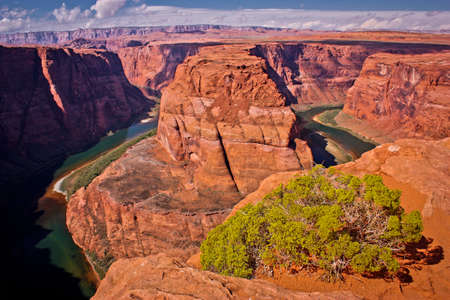 Scenic view of beautiful rock formation called Horseshoe Bend in Arizona, US road trip, town of Page and its natural wonders