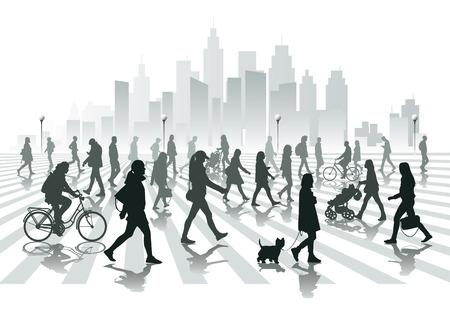 люди: Прогулки людей в городе Иллюстрация