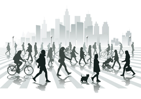 crowd of people: Walking people in city