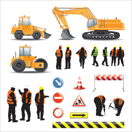 wheeled tractor: Set of road under construction  Machines, workers, signs and banners