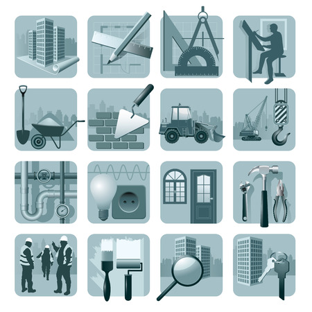 architect tools: Set of construction & architecture icons. Vector illustration