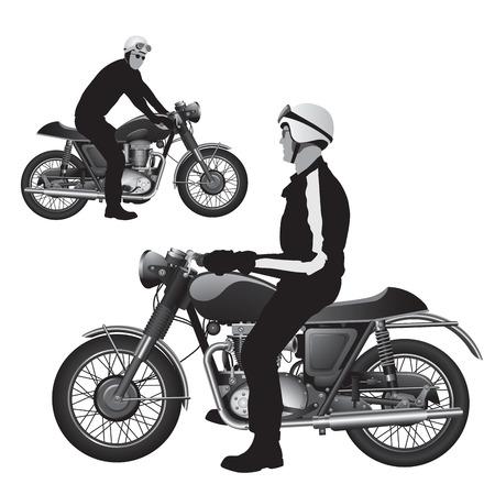 a two wheeled vehicle: Old racing bikes illustration Illustration