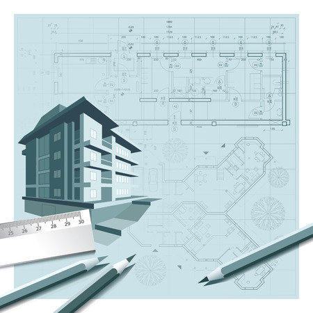 architect tools: House with tools on architect blueprints illustration