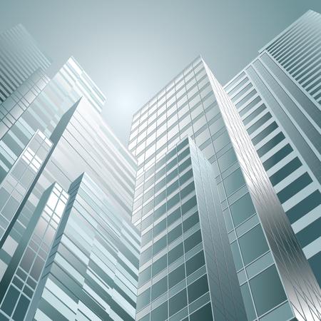 gran angular: Perspectiva y �ngulo de visi�n inferior al edificio de cristal ilustraci�n