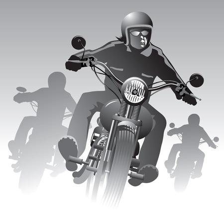 casco moto: Motoristas en la ilustración de la carretera