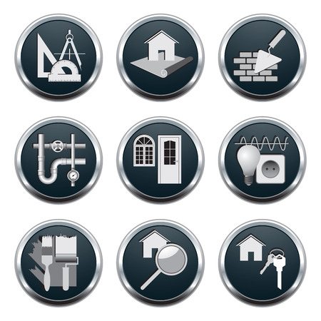 architect tools: Set of construction & architecture icons illustration