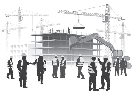 집 건물의 그림 건설 노동자와 크레인