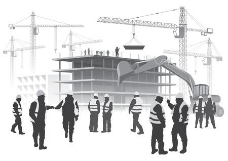 Illustratie van woningbouw en kranen met Bouwvakkers Stock Illustratie