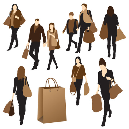 go to store: Silhouettes of people with purchases illustration Illustration