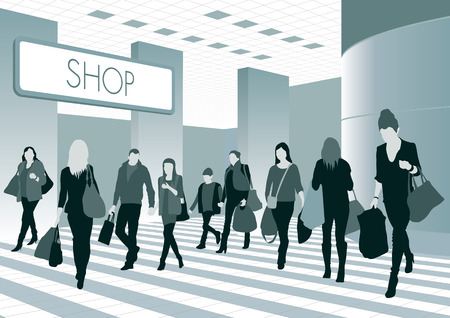 Silhouettes of people in shopping center illustration