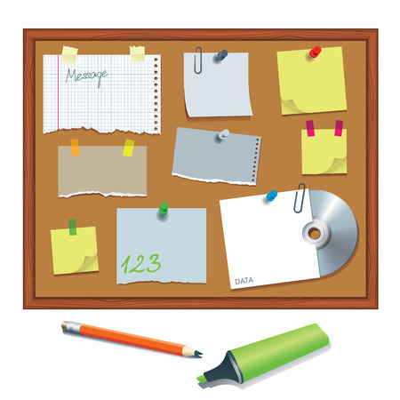 Message board with various paper notes and memo stickers  Vector