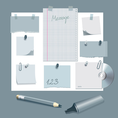 paper notes: Message board with various paper notes and memo stickers Illustration