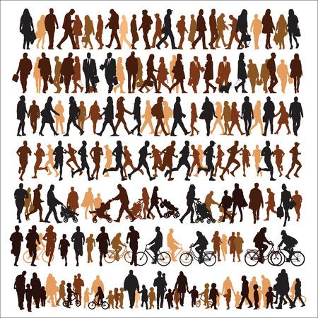 gente caminando: Colecci�n de siluetas de personas