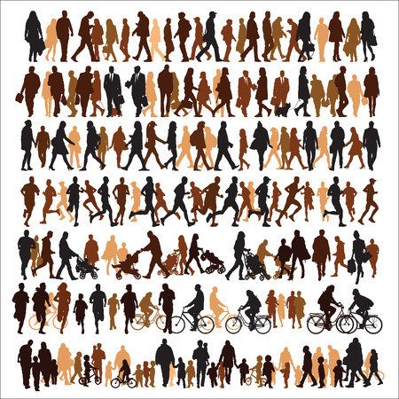 bicycle walk: Collection of people silhouettes Illustration