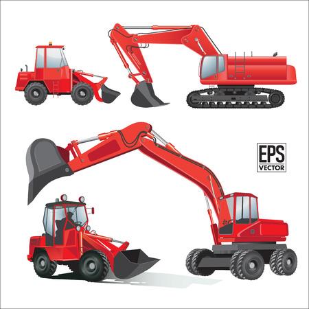 excavating machine: Construction machinery equipment . Vector illustration