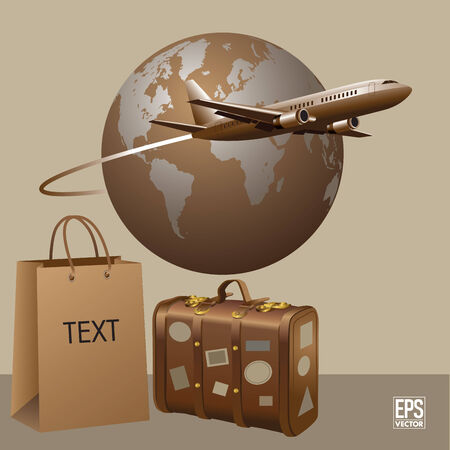 Airplane travel with luggage  illustration Vector