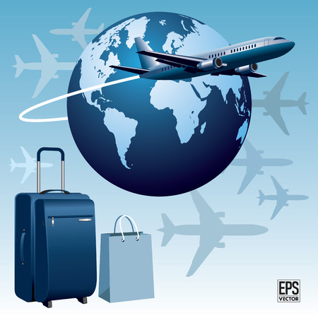 airplane travel: Airplane travel with luggage  Vector illustration