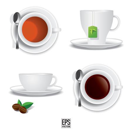 non alcohol: Taza de caf� y la taza de t� Vector iIllustration del Vectores
