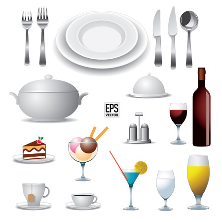 Set of reataurant elements  Vector illustration Vector
