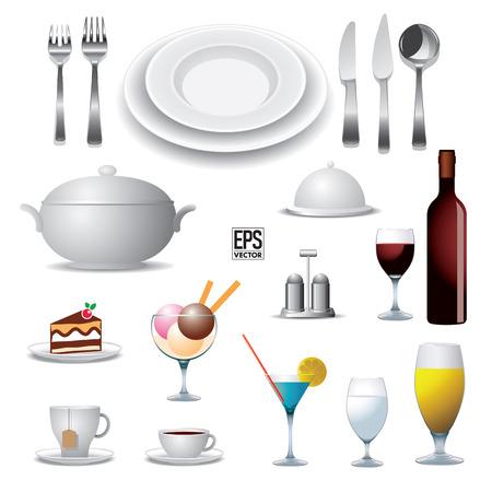 soup spoon: Set of reataurant elements  Vector illustration Illustration