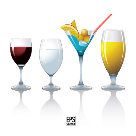 Drinks and beverages illustration set  Vector Format Vector