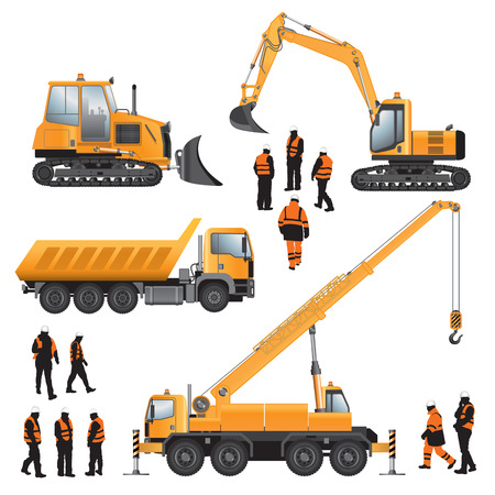 excavator: Construction machines and workers  Bulldozer, excavator, crane and truck  Vector illustration
