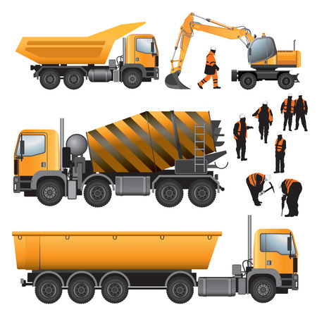 Construction machines and workers  Concrete mixer, excavator and trucks  Vector illustration