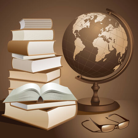 Earth planet and books. Vector illustration Vector