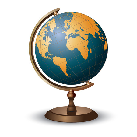world globe map: Terrestrial globe on white. Vector illustration