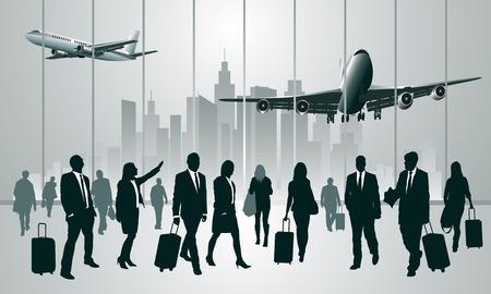 Obchodní cestující v letištním terminálu. Vektorové ilustrace