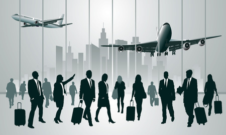Business travelers in the airport terminal. Vector illustration Illustration