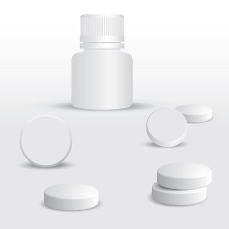 medica: White pills and white medical container for pills  Vector illustration
