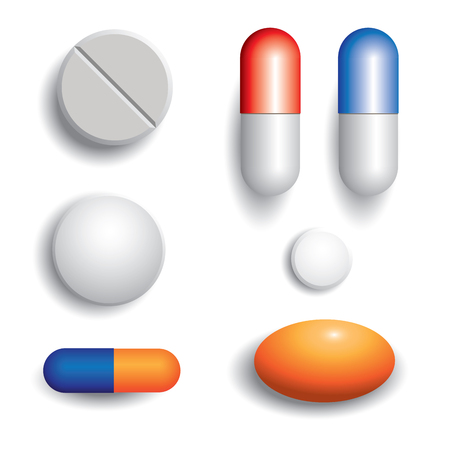 medica: Pills isolated on white background  Vector illustration Illustration