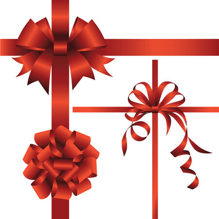 ribbons vector: Set of red bows with ribbons. Vector illustration
