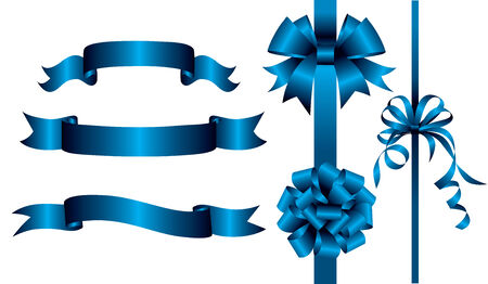 blue ribbon: Set of blue ribbons and banners. Vector illustration Illustration