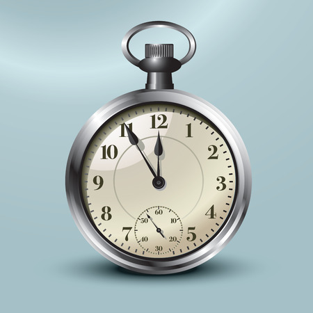 midday: Pocket watch showing five minutes to midnight  Vector illustration