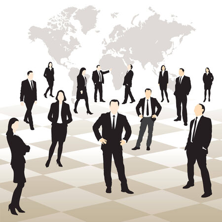 Business people on a chessboard.  Map of the world in background. Vector illustration Vector