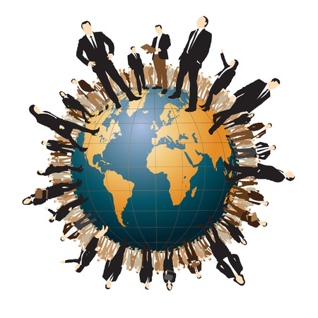 large group of business people: Business people are standing on a world globe. Vector illustration