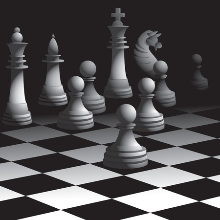 moves: Chess board with figures. Vector illustration