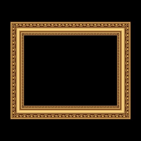 picture frame on wall: Golden antique frame for your picture. Vector illustration