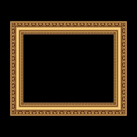 Gouden antiek frame voor de foto. Vector illustratie