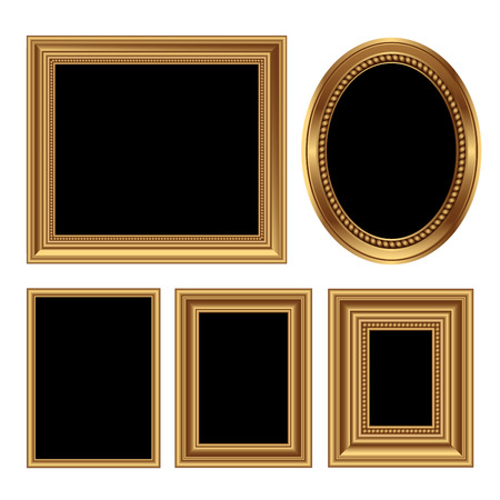 gold picture frame: Golden antique frames for your pictures. Vector illustration