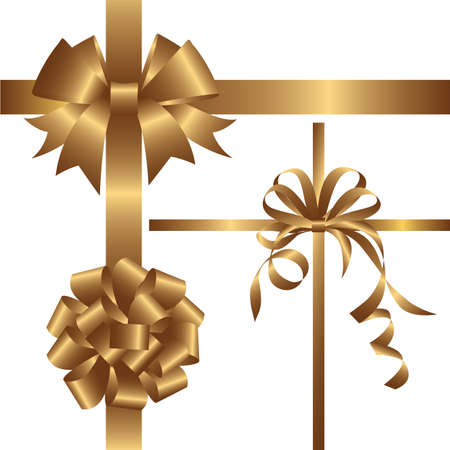 surprise box: Set of golden bows with ribbons. Vector illustration