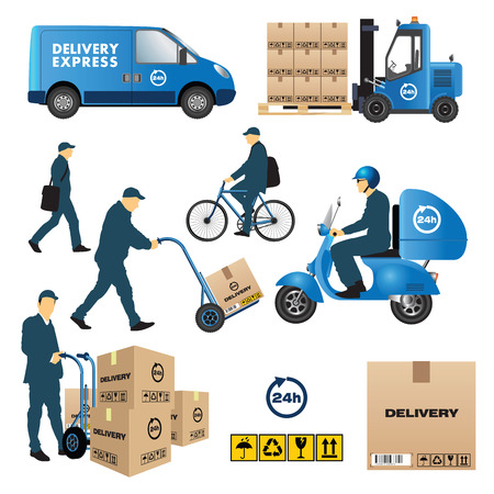 distribution: Set of delivery and shipment service. Vector illustration