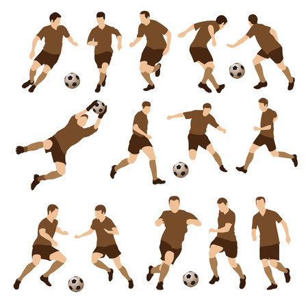goal kick: Football players silhouettes. Vector illustration