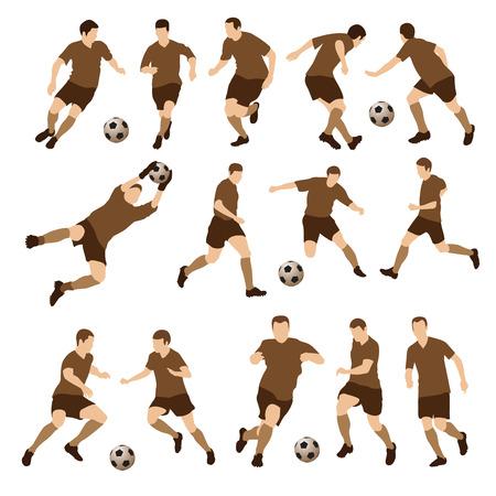 arquero de futbol: Jugadores de fútbol siluetas. Ilustración vectorial