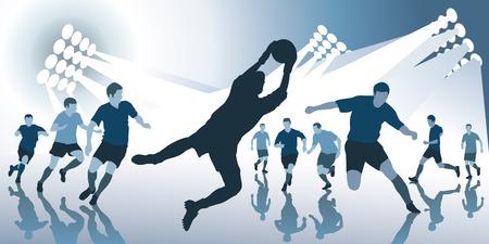 keeper: Football match in bright spotlights. Vector illustration