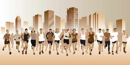 People running on a street. Vector illustration