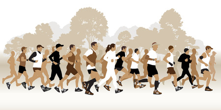 Running people in the park. Vector illustration