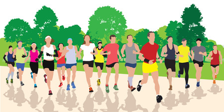 group fitness: Running people in the park. Vector illustration